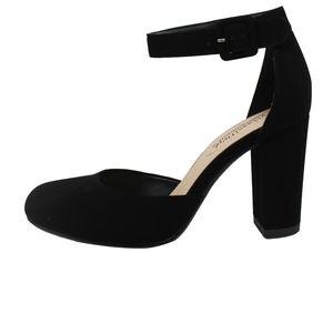 Shoes - Black Faux nubuck leather Ankle Strap Block Heel